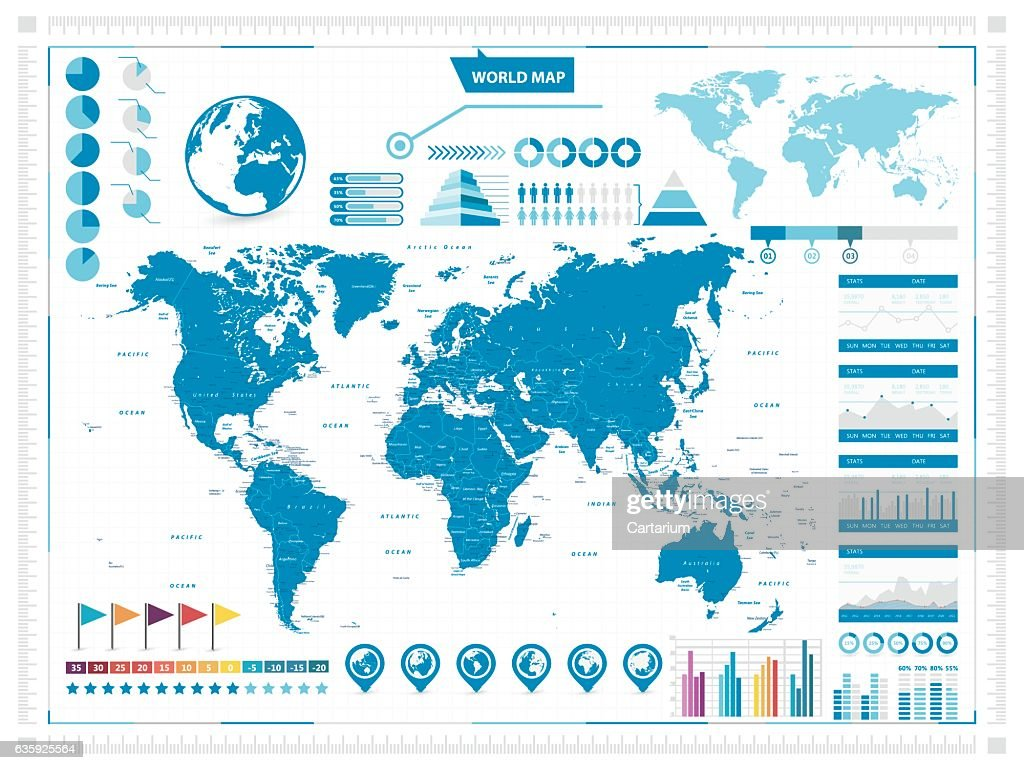 Large World Map and infograpchic elements