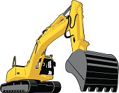 Large yellow excavator with continuous track mobility