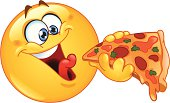 Large yellow happy emoticon eating pizza slice