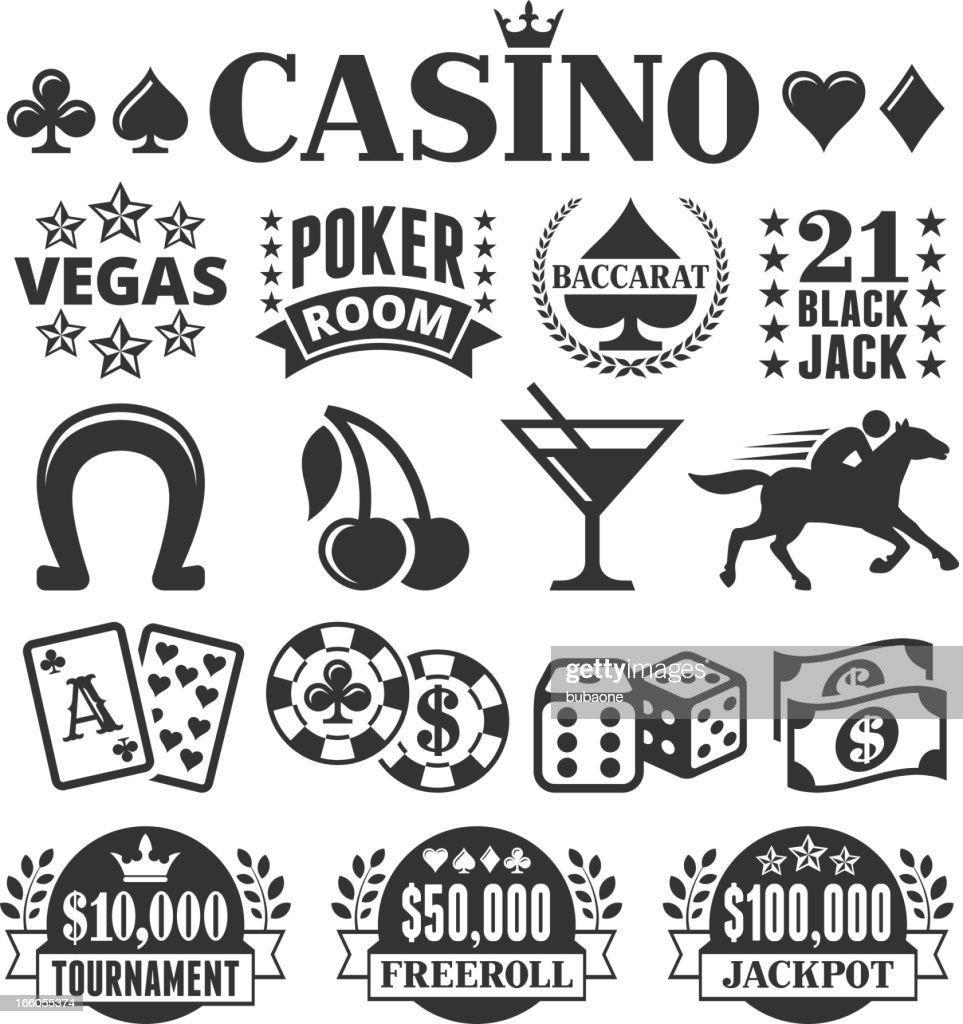 Las Vegas Casino black & white vector icon set