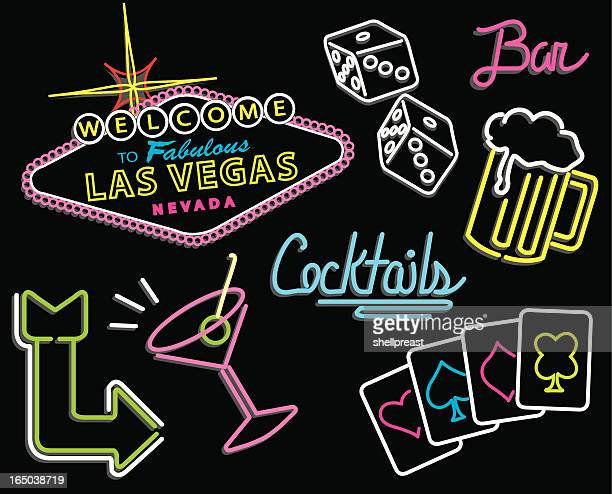 las vegas - neon signs - las vegas stock illustrations