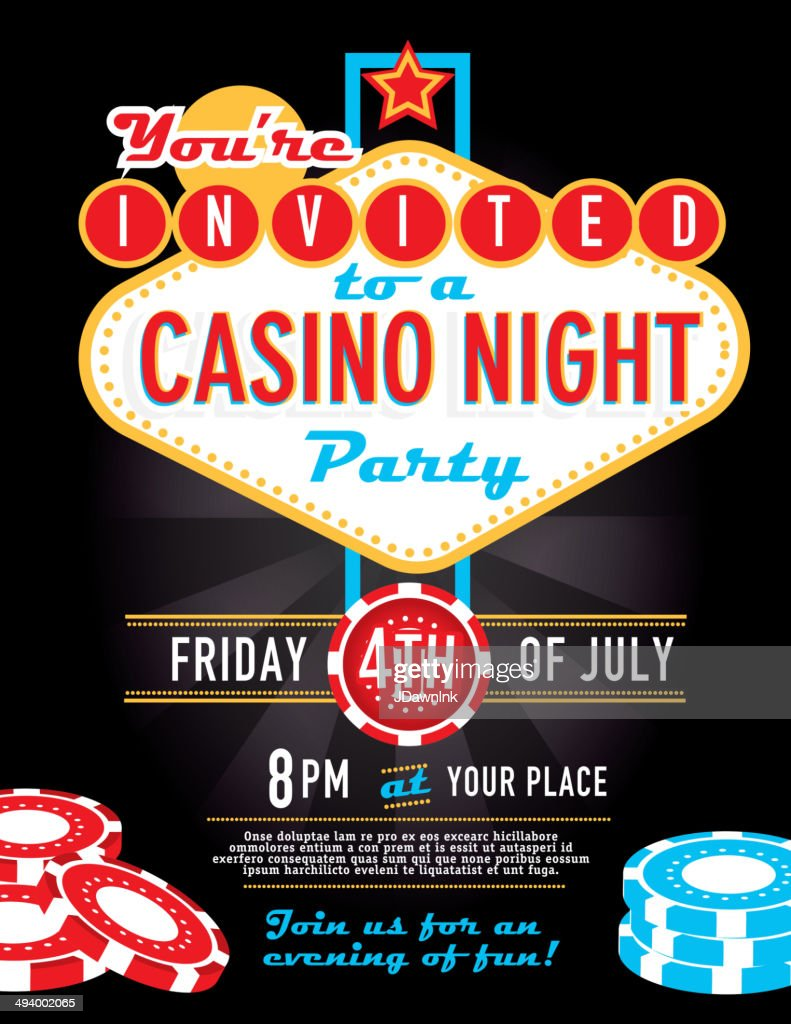 Completely new Las Vegas Sign Party And Casino Night Invitation Design Template  FR04