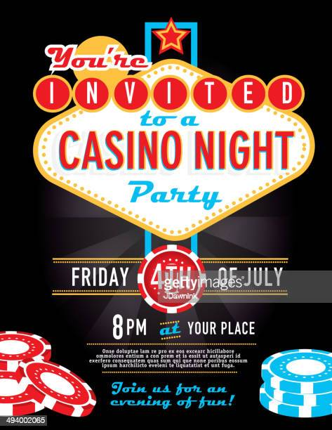 las vegas sign party and casino night invitation design template - las vegas stock illustrations