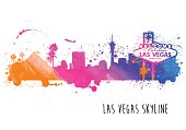 Las Vegas Skyline Watercolor