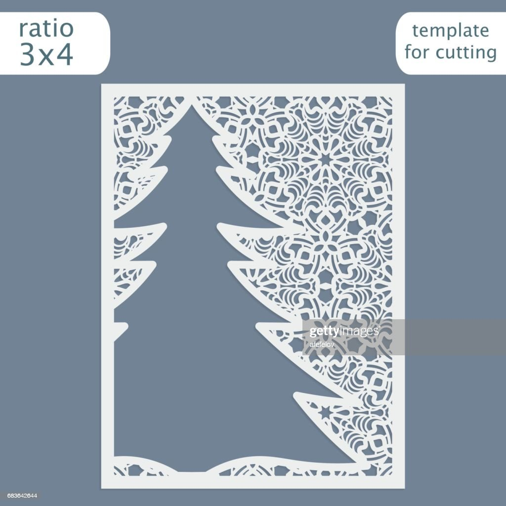 Laser Cut Christmas Invitation Card Template Cut Out The Paper Card