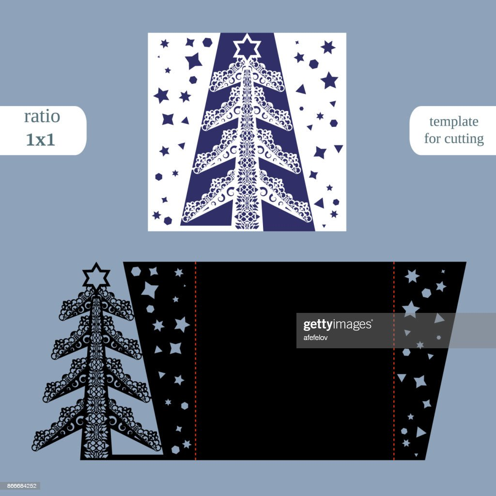 Laser cut christmas square card template. Cut out the paper card with lace pattern.  Greeting card template for cutting plotter. Congratulation to Christmas or New Year.  Metal plate cut by laser.