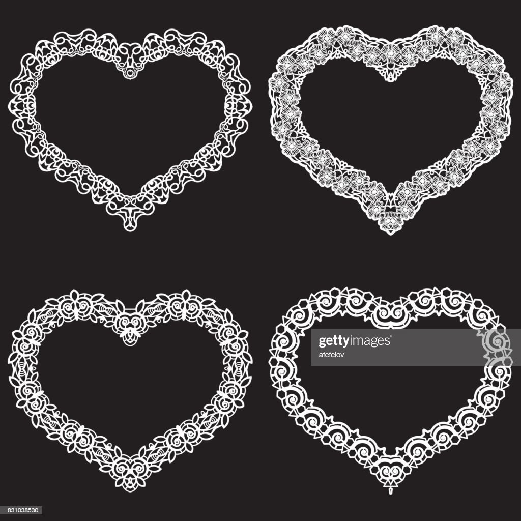 Laser Cut Frame In The Shape Of A Heart With Lace Border A Set Of ...