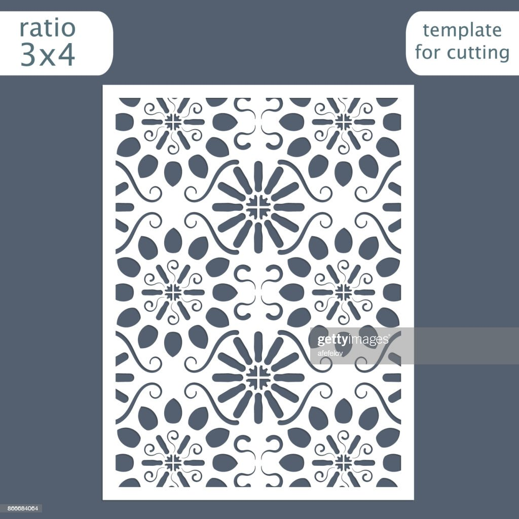 Laser cut wedding invitation card template.  Cut out the paper card with floral pattern.  Greeting card template for cutting plotter. Vector.