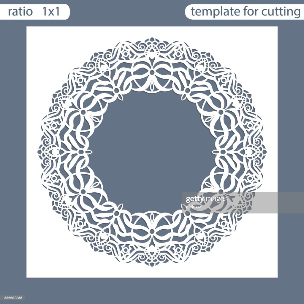 Laser cut wedding invitation card template.  Cut out the paper card with pattern of oak leaves.  Greeting card. Photo frame are laser cut from a plate. Vector.