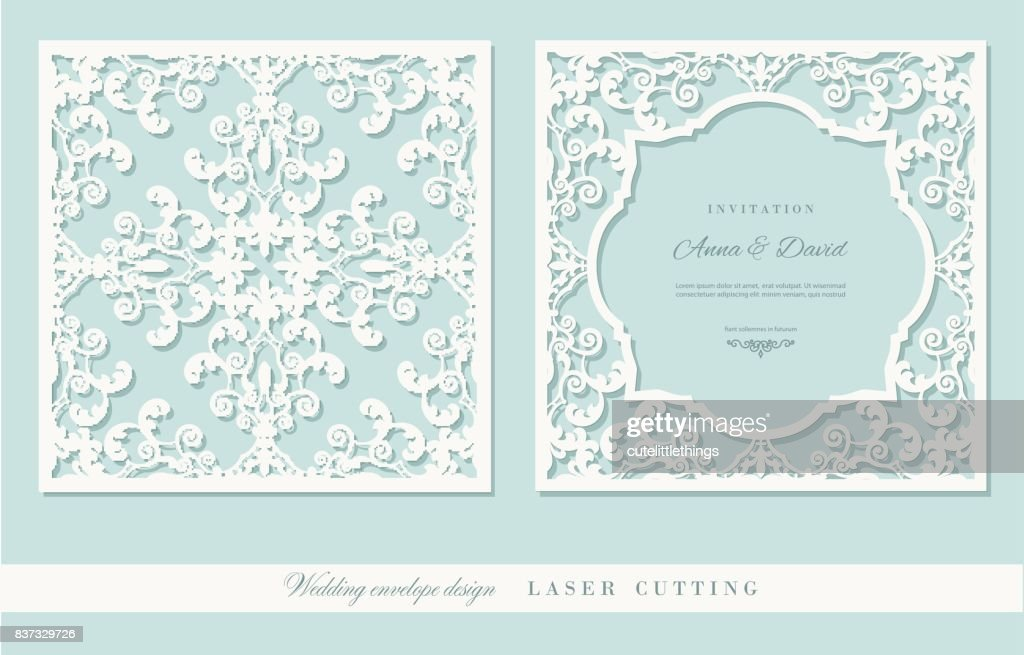 Laser cutting frame and damask panel set. Square filigree cutout envelope design. Front and back. Pastel blue and white colors.