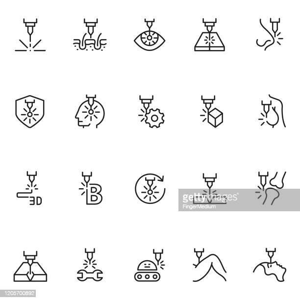 laser line icon set - cutting stock illustrations