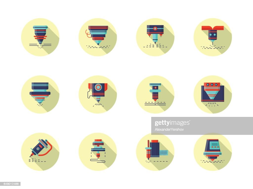 Laser machines round flat color vector icons
