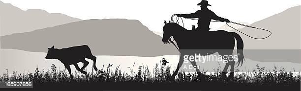 lasso vector silhouette - calf stock illustrations, clip art, cartoons, & icons