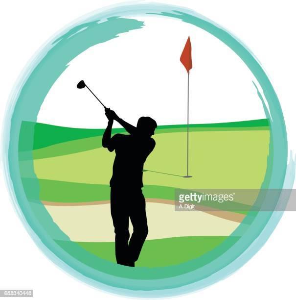 last hole golf - sand trap stock illustrations, clip art, cartoons, & icons