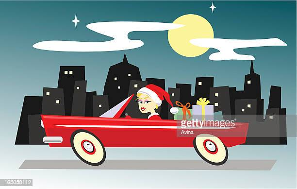 last minute errands for santa - classic car christmas stock illustrations