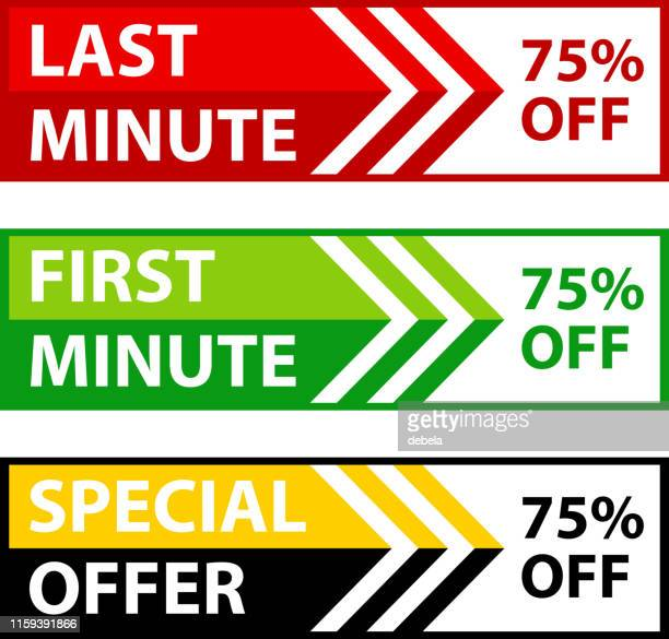 last minute / first minute seventy five percent special discount offer web banner collection - number 75 stock illustrations, clip art, cartoons, & icons