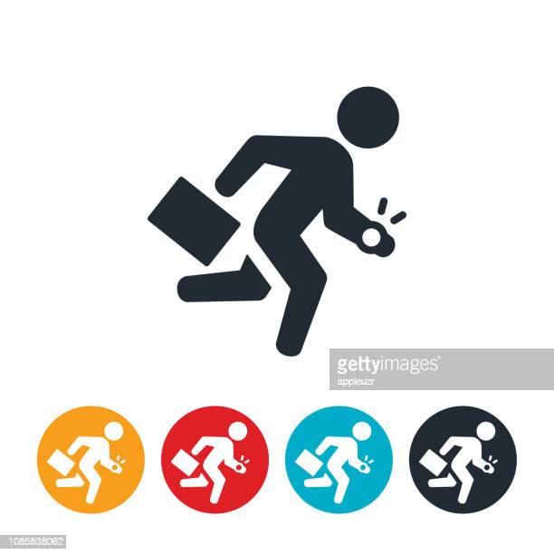 late businessman icon - briefcase stock illustrations