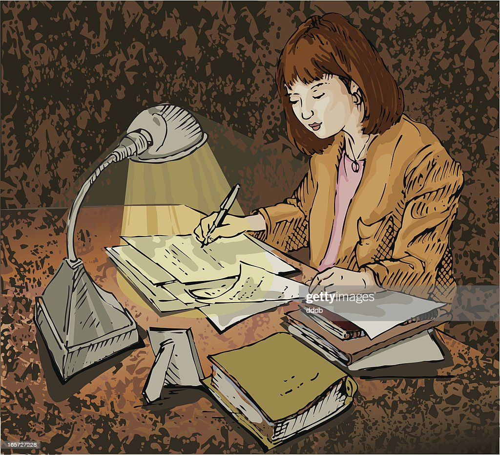 Late night paperwork : stock illustration