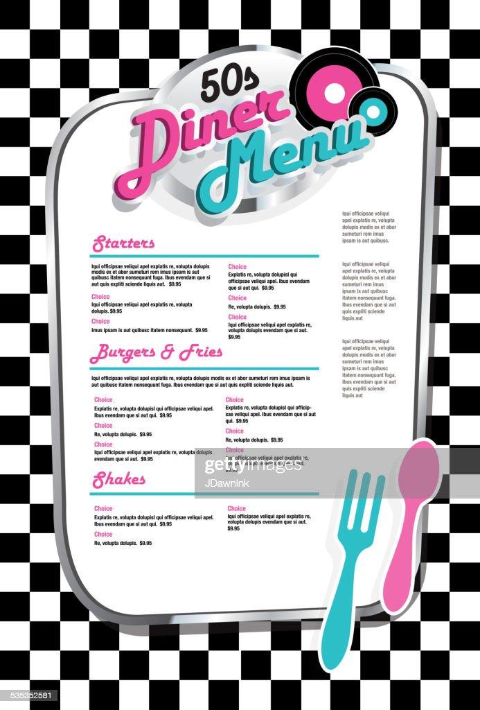 Late night retro 50s Diner  menu black and white check