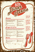 Late night retro 50s Diner  menu layout aged paper
