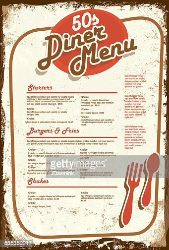 Late Night Retro 50s Diner Menu Layout Aged Paper Vector