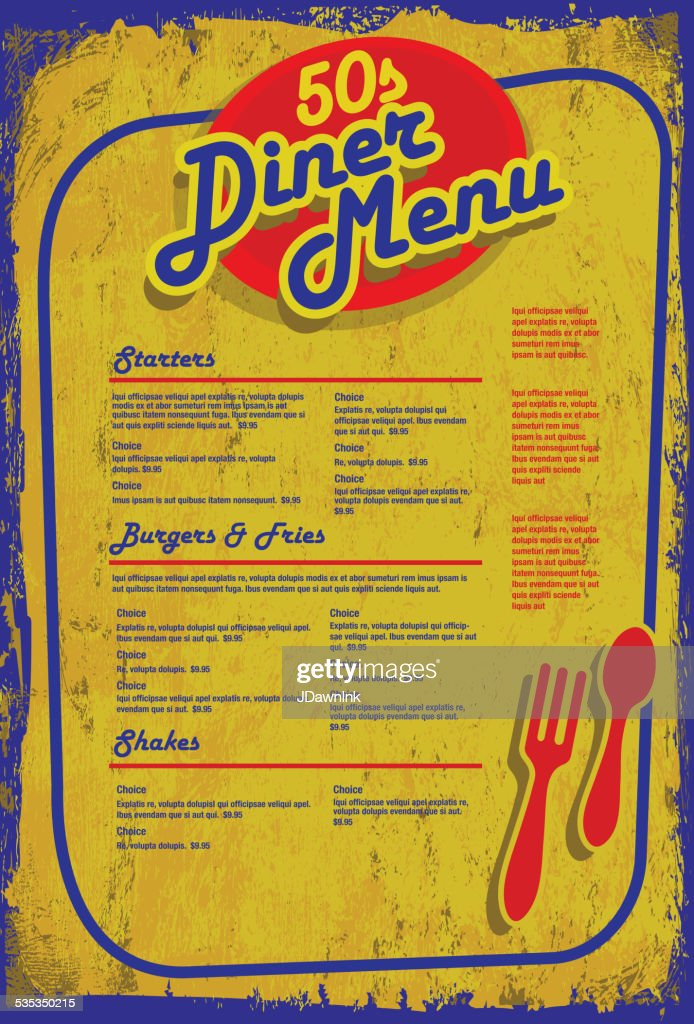 Late Night Retro 50s Diner Menu Layout Blue Yellow Aged Vector Art