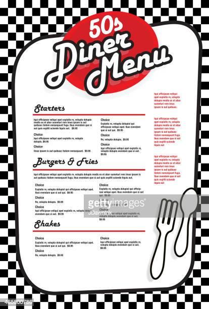 illustrations, cliparts, dessins animés et icônes de nuit «diner» des années 1950 conception de menu rétro rouge et blanc - menu