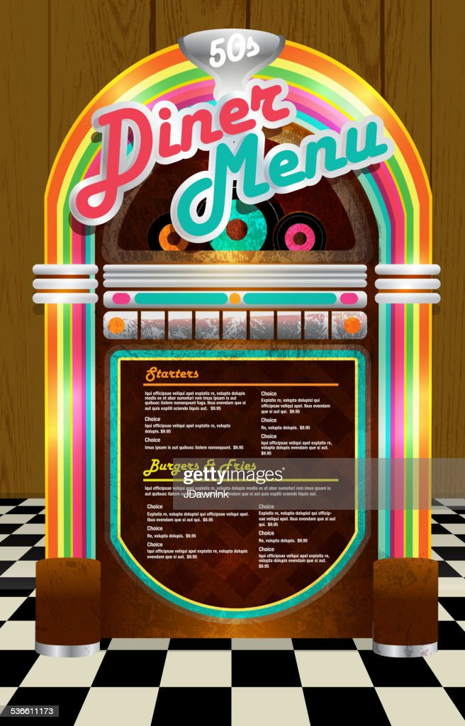 Late Night Retro 50s Diner Menu Layout With Jukebox Brown Vector Art