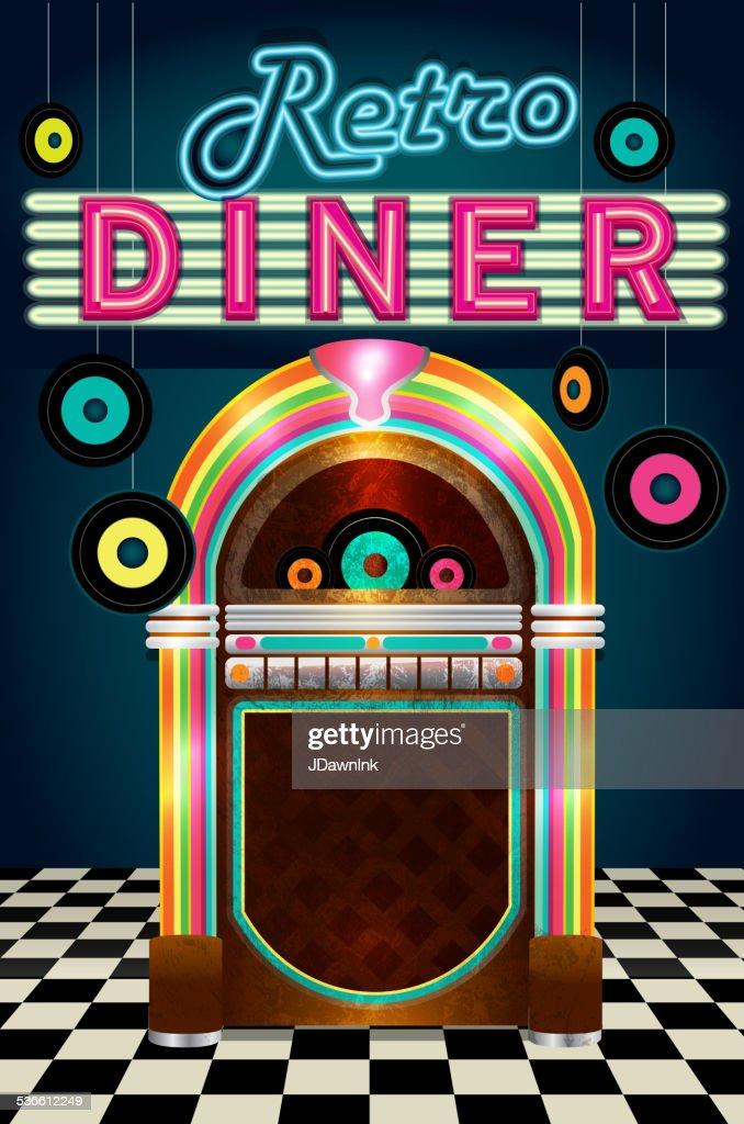 Late night retro 50s Diner  menu layout with jukebox vinyl