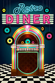 Late night retro 50s Diner  menu layout with jukebox vinyl