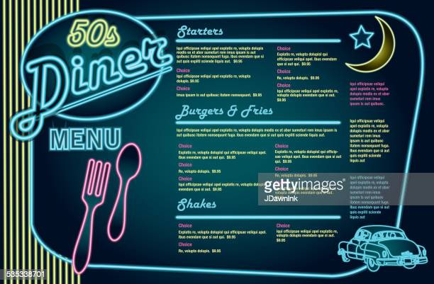 Late night retro 50s Diner neon menu layout horizontal