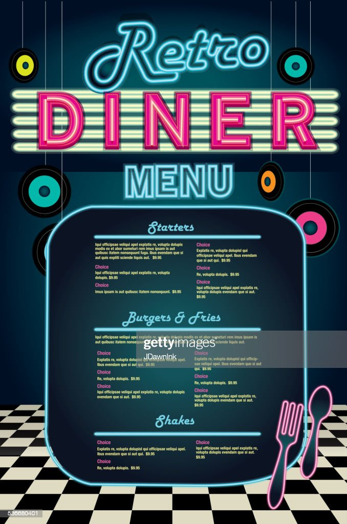 Late Night Retro 50s Diner Neon Menu Layout Vector Art