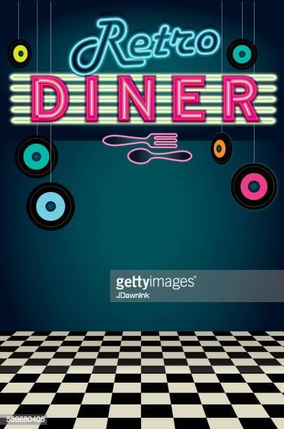 Late night retro 50s Diner neon menu layout