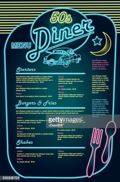 Late night retro 50s Diner neon menu layout with car