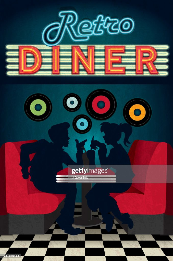 Late Night Retro 50s Diner Scene With People Silhouettes High Res Vector Graphic Getty Images
