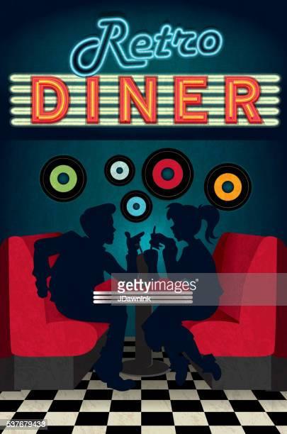 stockillustraties, clipart, cartoons en iconen met late night retro 50s diner scene with people silhouettes - snackbar