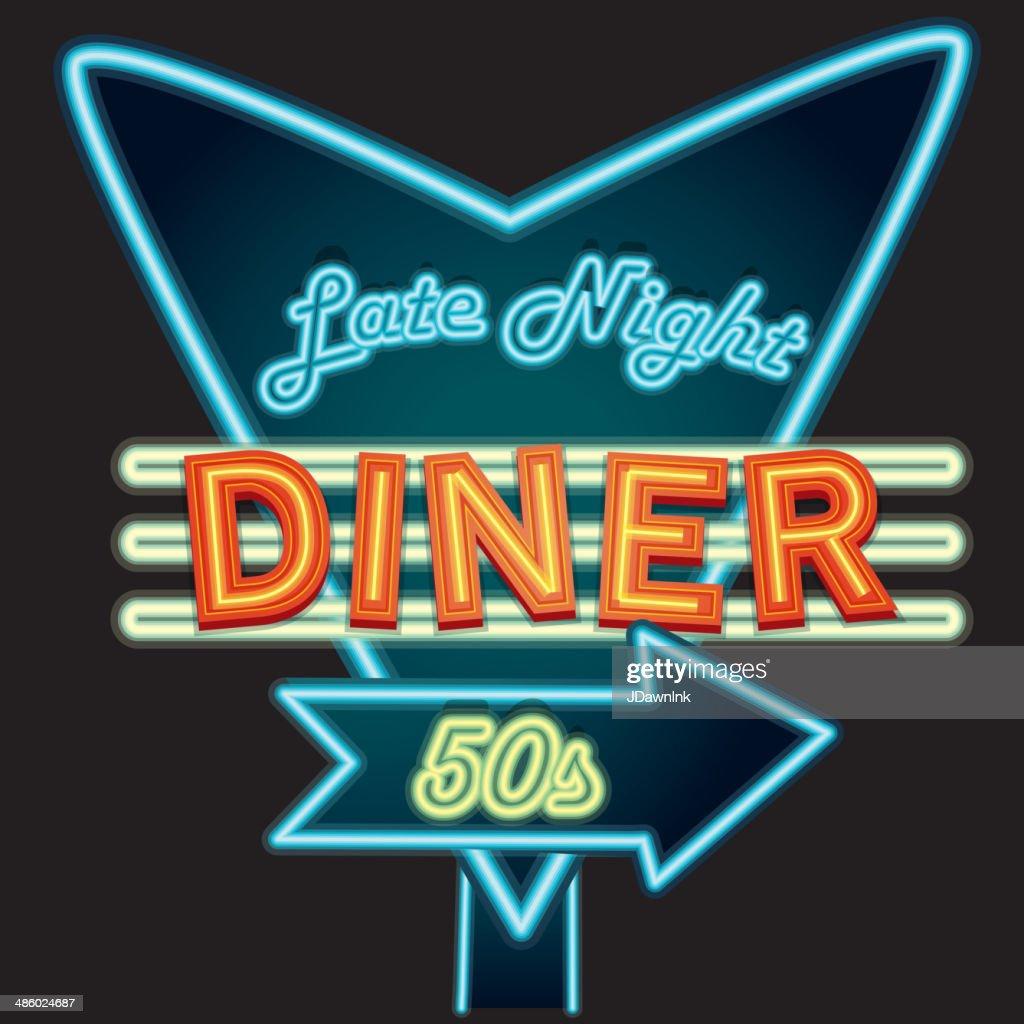 Late Night Retro Diner 50s Neon Sign Vector Art