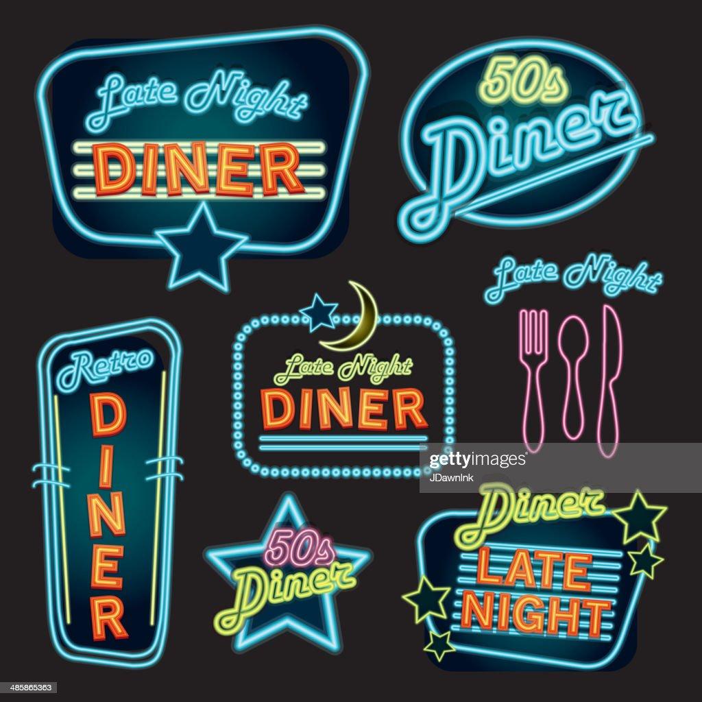 Late night retro Diner neon sign set