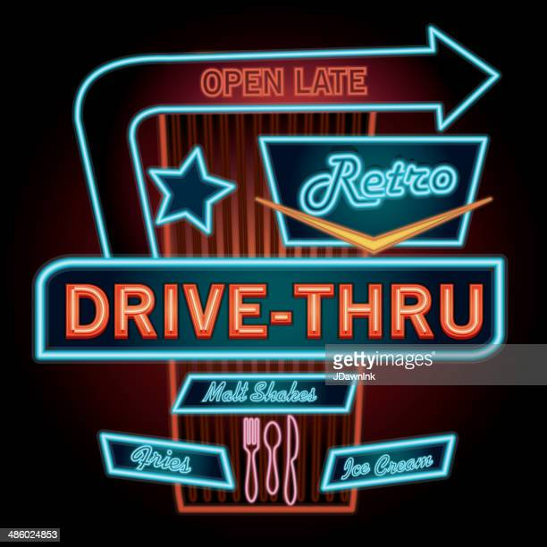 Late night retro Drive Thru restaurant neon sign