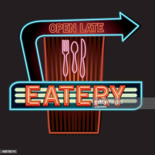 late night retro eatery neon sign with arrows and utensils - open sign stock illustrations, clip art, cartoons, & icons