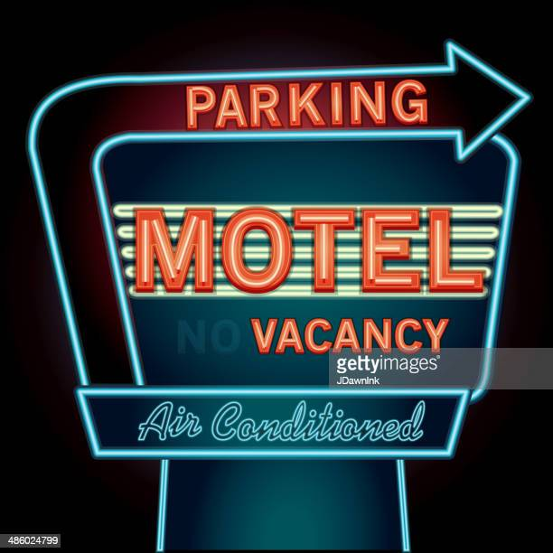 Late night retro Motel Neon Parking sign