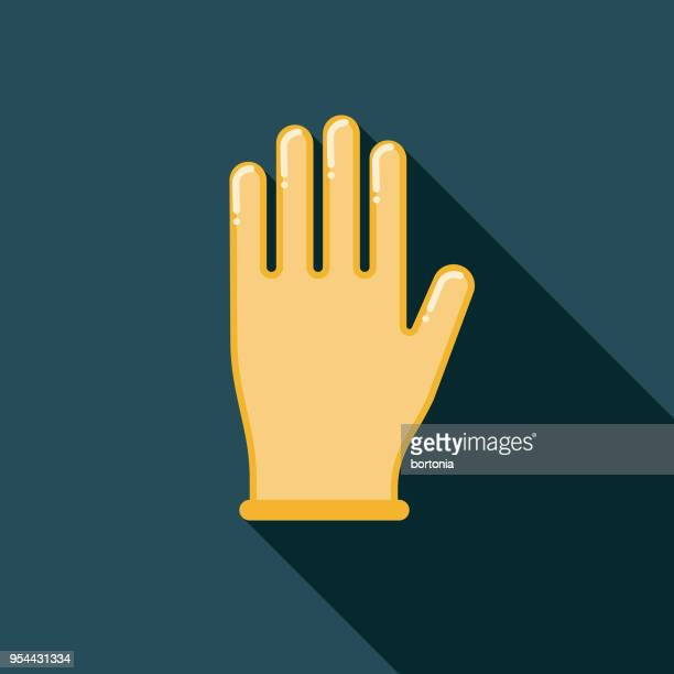 latex glove flat design medical supplies icon with side shadow - glove stock illustrations