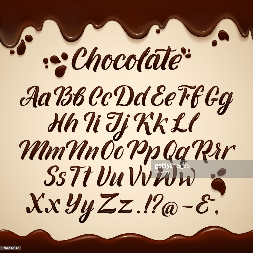 Latin alphabet in liquid style. Hand writing brown chocolate letters. Vector illustrations