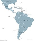Latin America countries political map