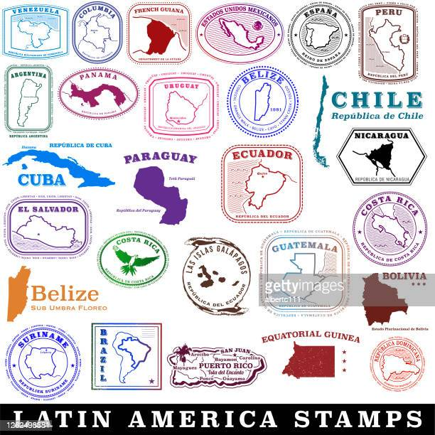 latin american and spanish speaking travel stamps - argentina stock illustrations