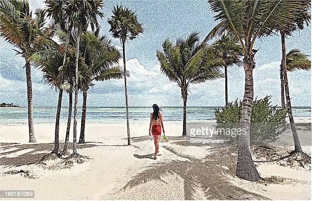 Latin American Woman Walking On Beach