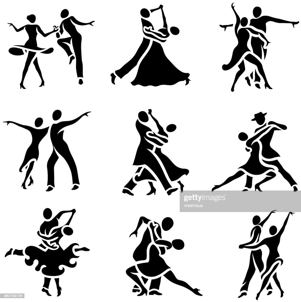 Latin and Ballroom Dance Styles Icons Set