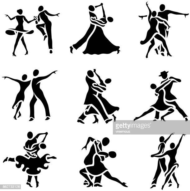 stockillustraties, clipart, cartoons en iconen met latin en ballroom dans stijlen icons set - gewalt