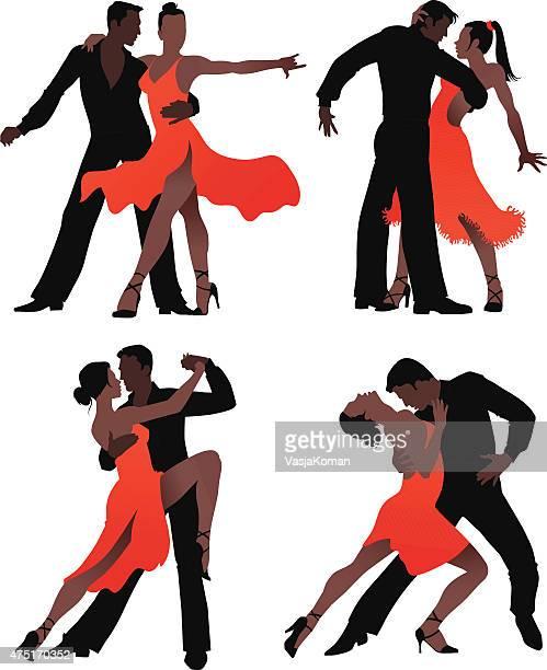 latin dancers couple - silhouette set - samba dancing stock illustrations, clip art, cartoons, & icons