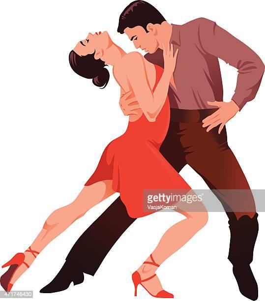 latin dancing - couple of dancers performing - spanish dancer stock illustrations, clip art, cartoons, & icons